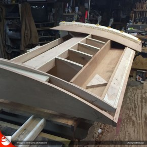 The headboard isn't all that complex. A few supports for strength before skinning it with cherry veneer.