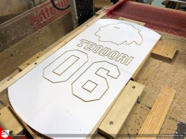 """Using the same 1/8"""" router bit, I cut a profile path for the characters that were previously cut."""